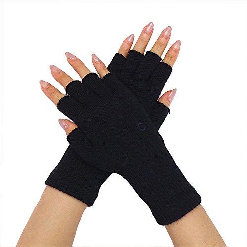 [841(ヤヨイ)] ハンドウォーマー 指なし手袋 スマホ手袋 綿 日本製 ブラック M