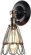 KELITINAus Wandlamp, Retro Loft Eenvoudige ijzeren kooi Verstelbare Lantaarn Wandkandelaar Zwarte afwerking E27 Country Ca...