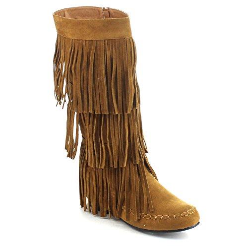 REFRESH JOLIN-02 Women's Fringe Moccasin Knee High Boots Tan 6