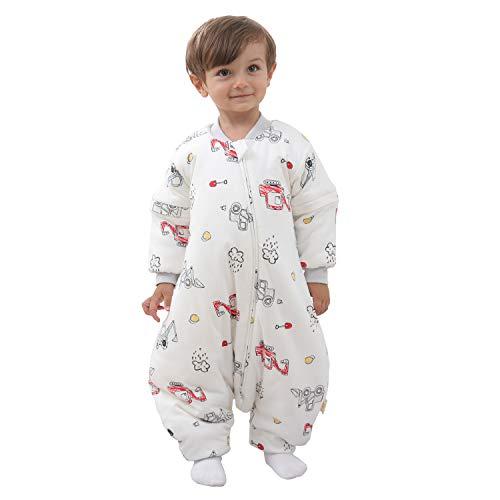 Baby Schlafsack mit Beinen Warm gefüttert winter kinder schlafsack abnehmbaren Ärmeln,Junge Mädchen Unisex Schlafanzug (White,2-4 Jahre(baby height 95-105cm))