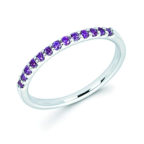 14K White Gold 1/4 Cttw Created Alexandrite Stackable 2MM Wedding Anniversary Band Ring - June Birthstone, Size 7 14k June Birthstone Ring