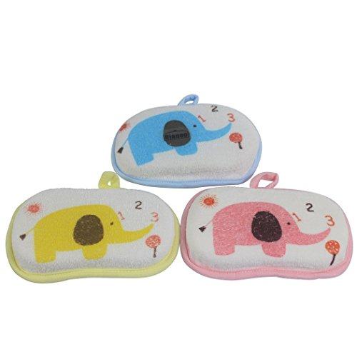Dianoo 3 PCS Bebé Bañera Esponja, Infantil Ducha Bañera Cepillo, Suave Puro Algodón Bebé Bañera Espuma Frotar Ducha Esponja (Colores aleatorios)