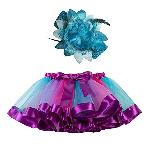 Mädchen Kinder Tutu Rock, zweiteiliges Set Party Tanz Ballett Kleinkind Baby Regenbogen Kostüm Rock + Stirnband Set Karneval Ostern (2Y-11Y)(Blau,L)