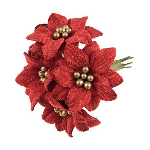 Trimits Mini Artificial Velvet Poinsettia Bunch - 6 Stems x 6cm - Red/Gold Christmas
