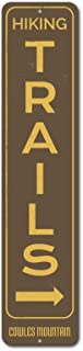 The Lizton Sign Shop Hiking Trails Vertical Sign, Custom Arrow Mountain Location Name Gift, Personalized Metal Hiker Cabin Decor - Quality Aluminum - 4