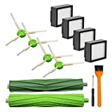 Lemige 9 Pack Replacement Parts for iRobot Roomba I&E Series i7 i7+ i8 i3 i6+/Plus E5 E6 E7 Vacuum Cleaner, 1 Set of Multi-Surface Rubber Brushes & 4 Pack HEPA Filters & 4 Pack Edge-Sweeping Brushes