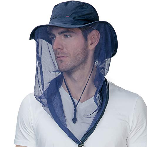 Mens Anti Mosquito Insect Bug Net Safari Sun Outdoor Protection Fishing Bonnie Waterproof Hat Bucket Blue