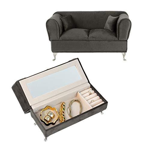 Schmuckkästchen \'Couch\' mit Spiegel 24x9,5x13,4cm Grau Schmuckschatulle Aufbewahrung