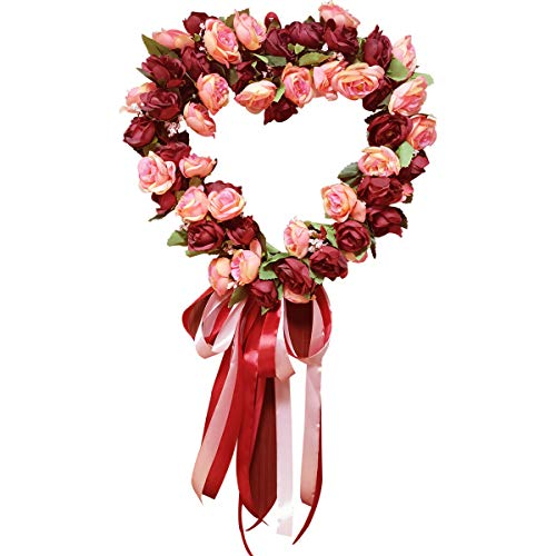 SISJULY Heart-Shaped Flower Wreath Artificial Burgundy Peony Wreath Handmade 14' Floral Hanging Wreath Summer Garland for Front Door Wall Wedding Party Office Home Decor with Ribbon