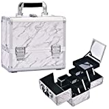 Joligrace Makeup Train Case Cosmetic Box 10 Inches Jewelry Organizer Professional 3 Tiers Trays with Mirror...