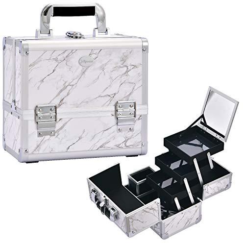 Maletin Maquillaje Profesional Estuche Maquillaje Neceser Portaescobillas Extraíble Beauty Case Cosméticos Organizador de...