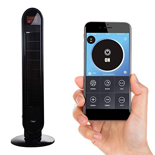 Ozeri 360 Oscillation, Bluetooth and Micro-Blade Noise Reduction Technology Tower Fan, Black