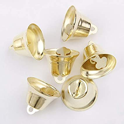 20pcs Rose Golor Color jingle bell metal loose beads Wit key ring Christmas Decoration ornament jewelry accessories