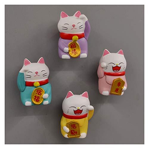 Yanqhua Imán de refrigerador Gatos imán de Nevera imán de Dibujos Animados Animales Animales Pegatina de Pizarra refrigerador Kid Mensaje Post casa decoración (Color : 4pcs)