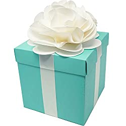 Robin Egg Aqua Blue Wedding Centerpiece Favor Box with Lid & Self Adhesive Satin Ribbons & Ivory Tissue Paper Flower Bow