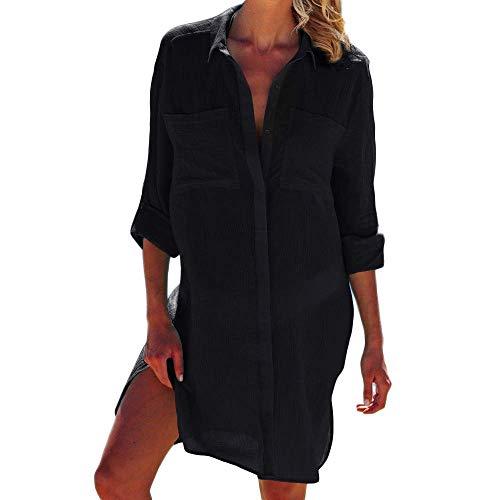 copricostume donna nero lungo chuangminghangqi Copricostume Mare Donna Copribikini Costume da Bagno Camicia Bluse Lunga Cover Up Spiaggia Camicetta Cardigan Estivo (Taglia Unica