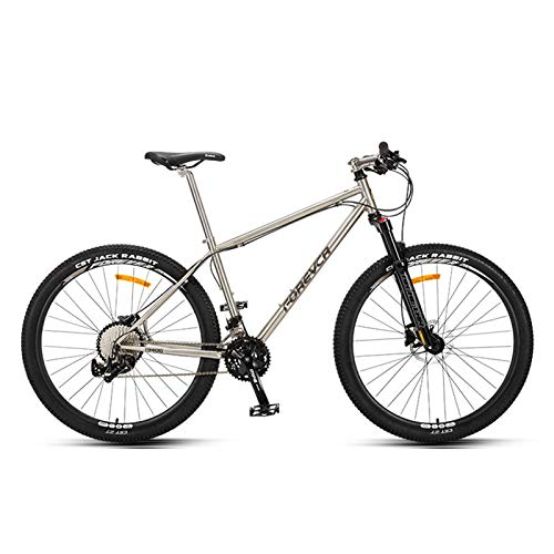 JKCKHA 27.5 Inch Mountain Bike 36-Speed for Man Women with Chrome Molybdenum Steel Frame Lock-Out Suspension Fork Hydraulic Disc-Brake,Lightweight,Silver