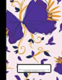 Composition Notebook: 110 Pages | College Ruled Composition | 8.5x11 in. | Retro Butterfly Floral Flower Print
