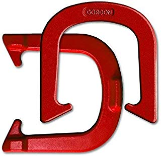 Gordon Professional Pitching Horseshoes - NHPA Sanctioned for Tournament Play - Drop Forged Construction - One Pair (2 Shoes) - Red Finish - Medium Weight (Renewed)