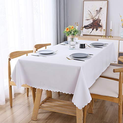 WELTRXE Tischdecke, PU Tischtuch Wasserabweisend und Ölabweisend, abwaschbar Tisch Decke, Tischwäsche Größe & Farbe wählbar 140×240 cm weiß