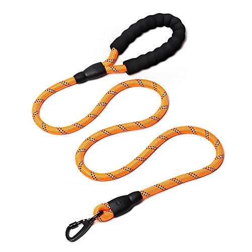 HAODIUSB88 Premium Hundeleine,150CM mit Bequemen Gepolsterten Griff, Starke Reflexe Nähte der Trainingsleine eignet für Alle Größe Hunde (Orange)