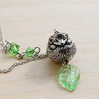 Enchanted Leaves - Happy Hedgehog Necklace - Cute Silver Hedgehog Charm Necklace