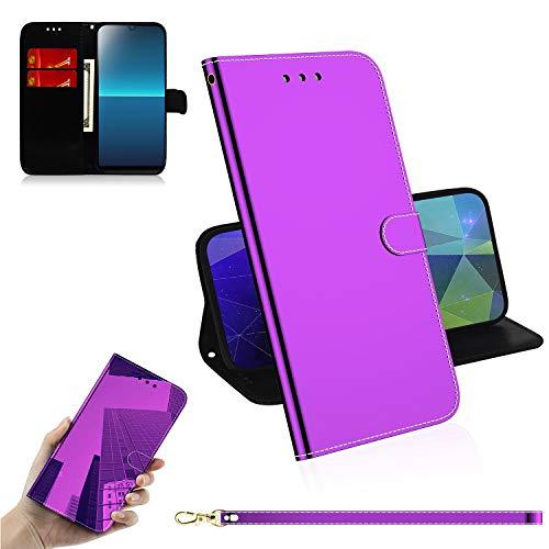 Snow Color Sony Xperia L4 Hülle, Premium Leder Tasche Flip Wallet Case [Standfunktion] [Kartenfächern] PU-Leder Schutzhülle Brieftasche Handyhülle für Sony Xperia L4 - COTX030530 Violett