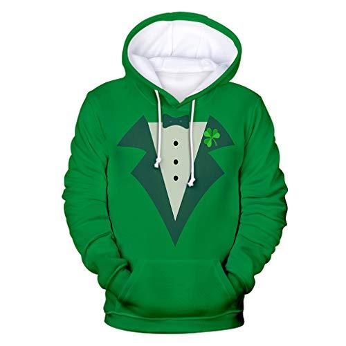 Sudadera de hombre con capucha 3D de San Patricio para disfraz de trbol de Irlanda de San Patricio, color verde Verde  L