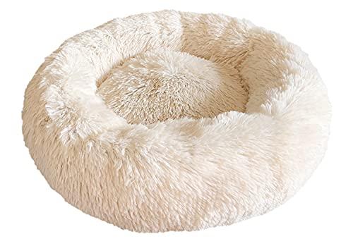 Docatgo Cama para Mascotas, Calmante Gatos Suave Donut Perros de 60x60 cm, Felpa Piel sintética Pelusa,Cómoda y Lavable, con cojín Mascotas Redonda Relajante tamaño Mediano