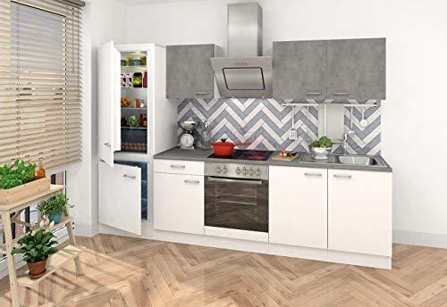 respekta Inbouw keuken kitchenette keukenblok 270 corpus wit, fronten gedeeltelijk in betonlook Ceran Soft Close, koel-/vriescombinatie 178 cm