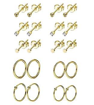 REVOLIA 10Pairs Stainless Steel Cartilage Earrings for Men Women Stud Earrings Ball CZ Tragus Helix Piercing G