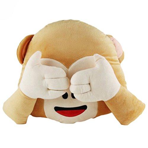 gloryhonor Lovely Funny Emoji Mono almohada cute emoción de peluche cojín de felpa muñeca de juguete, 2#, 35cm x 35cm/13.78 x 13.78
