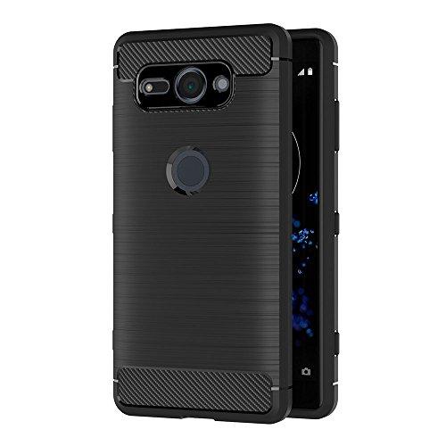 AICEK Funda Sony Xperia XZ2 Compact, Negro Silicona Fundas para Sony XZ2 Compact Carcasa Xperia XZ2 Compact Fibra de Carbono Funda Case (5,0 Pulgadas)