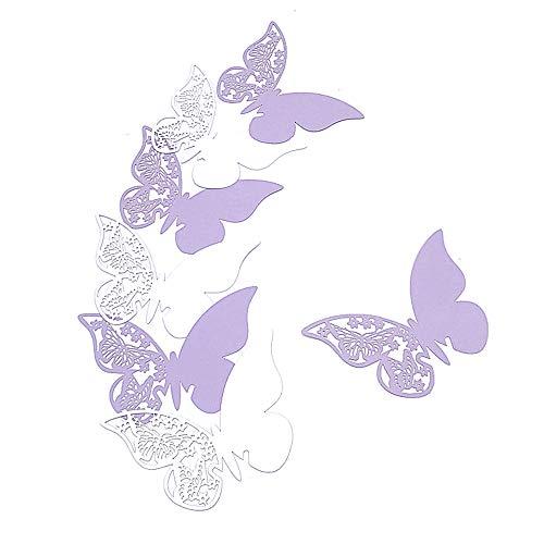HaimoBurg 100 PCS Segnaposti Segnabicchiere Segnatavolo Perlato Forma di Farfalle Decorazioni per Feste Matrimonio (Bianco/Lillà)