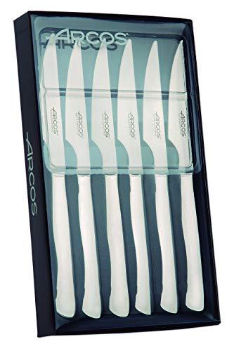 Arcos Serie Cuchillos de Mesa - Juego 6 uds Cuchillo Chuletero - Hoja Filo de Acero Inoxidable de 110 mm - Cuchillo Monoblock Acero Inoxidable Color plata