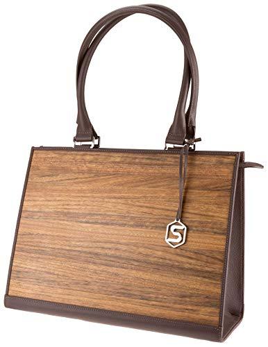 SEBASTIAN STURM Handtasche RUBY   Gefertigt aus Echtholz Typ Amazaque und Rindleder   Henkeltasche Braun   By
