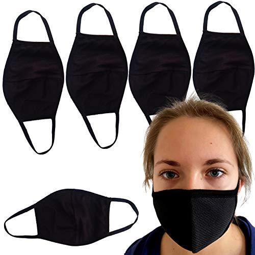 Descena 5 Kindermasken schwarz: Behelfs-Mundschutz Kinder waschbar I Baumwollmaske Kinder schwarz.: Behelfs-Mundschutz Maske schwarz I Wiederverwendbare Masken schwarz für Jungen und Mädchen
