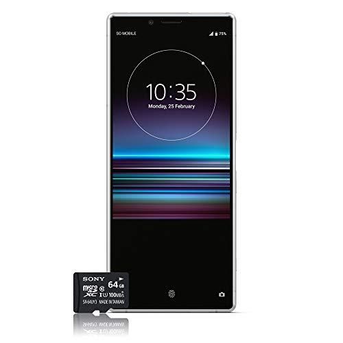 Sony Xperia 1 Smartphone Bundle (16,5 cm (6,5 Zoll) OLED Display, Dual-SIM, 128 GB Speicher, 6 GB RAM, Android 9.0) Weiß + gratis 64 GB Speicherkarte [Exklusiv bei Amazon] – Deutsche Version