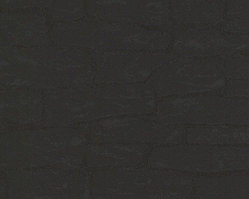 A.S. Création Vliestapete Best of Wood`n Stone 2nd Edition Tapete in Stein Optik fotorealistische Steintapete Naturstein 10,05 m x 0,53 m schwarz Made in Germany 139511 1395-11