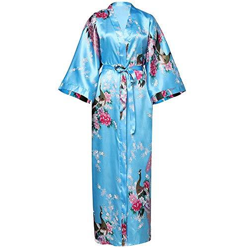DPKDBN damesjurk, lange jurk, kimonjurk, bloemenprint, badjas, ondergoed, casual satijn, zachte pyjama, bruidsjurk