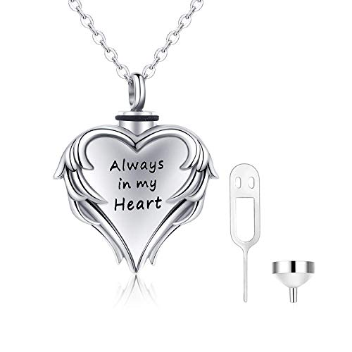 Ashes Necklace Cremation Jewelry 925 Sterling Silver Urns for Ashes Adult Angel Wing Always in My Heart Necklace Ashes Keepsake Pendant Necklac