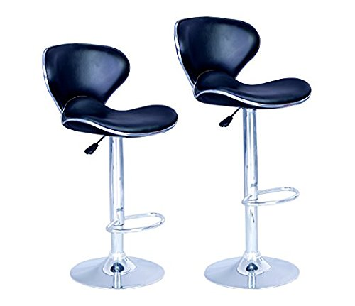 New Modern Adjustable Synthetic PU Leather Swivel Bar Stool Stool Sets of 2 Swivel Adjustable Barstools with Back for Kitchen Counter Tall Bar Height Chairs