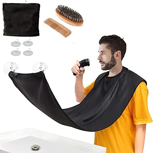 Ducomi Juego de barba compuesto por delantal, cepillo abrillantador y peine de madera – Babero de barba para no ensuciar el lavabo – Regalo para hombre – Kit de cuidado facial