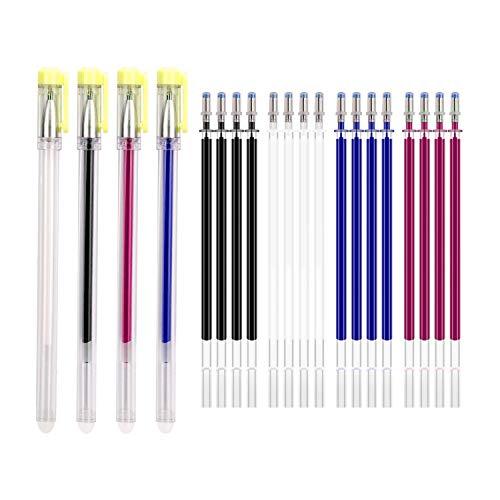 TOYMIS 4 Piezas Bolígrafos de Tela Borrables con Azul Calor - Tela con Tapas y 20 Recambios Reemplazables para Telas, Confección, Costura de Sastre (Gorra amarilla)