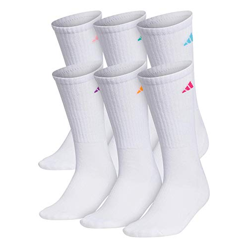 adidas Women's Athletic Crew Sock (6-Pair), White/Shock Pink Glow Orange Shock Purple Bright C, Medium, (Shoe Size 5-10)