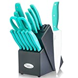 Knife Block Set, 14 Piece Kitchen Knife Set with Wooden Block, Stainless Steel Knife Set, Built-in Knife Sharpener, 6pcs Steak Knife Kitchen Scissor Chef Knife Inside, Turquoise