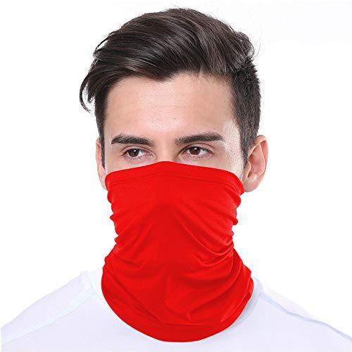 KUNSTIFY   Multifunktionstuch Mundschutz   Bandana Herren Damen Schlauchschal Halstuch Gesichtsmaske Mund-Nasen-Schutz Liebesmaske Baumwolle Outdoor   elastisch atmungsaktiv waschbar (Rot)
