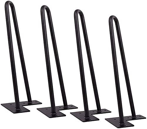 4 patas de horquilla, patas de mesa de metal para muebles de bricolaje resistentes, construcción superior de acero de doble soldadura con tornillos, para armario/armario/armarios de TV/cajones(