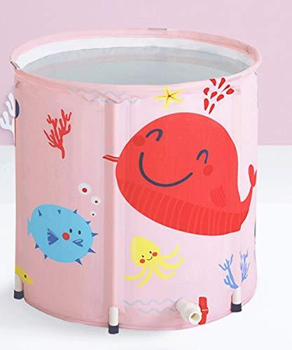 Mlshbt bathtub Tragbare Studenten Faltbare Badewannen Folding Bad Barrel Kinder Tubs Badewanne Thick Kunststoff Baby-Bad Barrel Kinder-Badebottich-Rosa-Farbe (Size : 50x55cm)