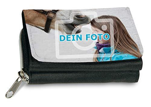 Geldbeutel mit eigenem Foto gestalten (Portemonnaie vollflächig mit individuellem Bild Bedruckt, aus Textil, mit Druckknopfverschluß, Münz- und Scheinfach sowie Kartenfächern, ideal als Fotogeschenk)